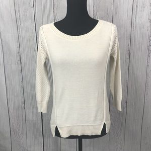 2/$20 - AEO Cream Color Partial Open Knit Sweater